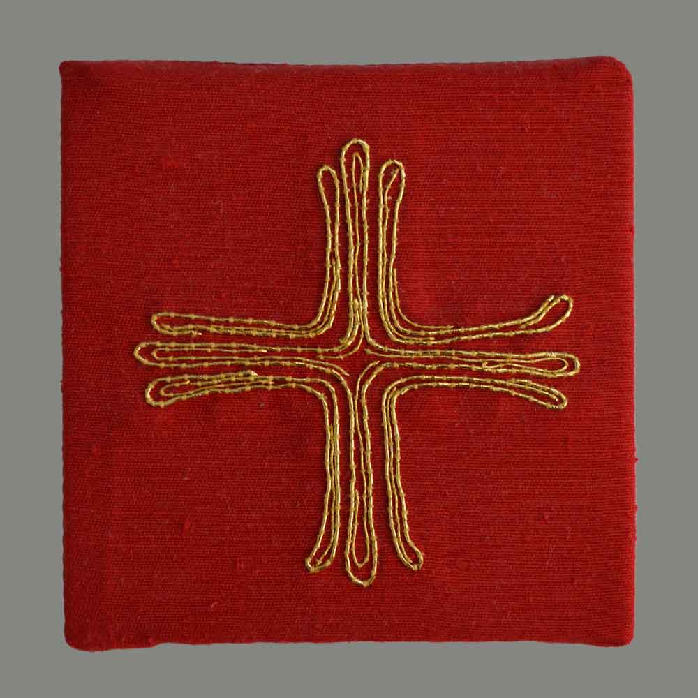 Cross gold on red hand embroidered