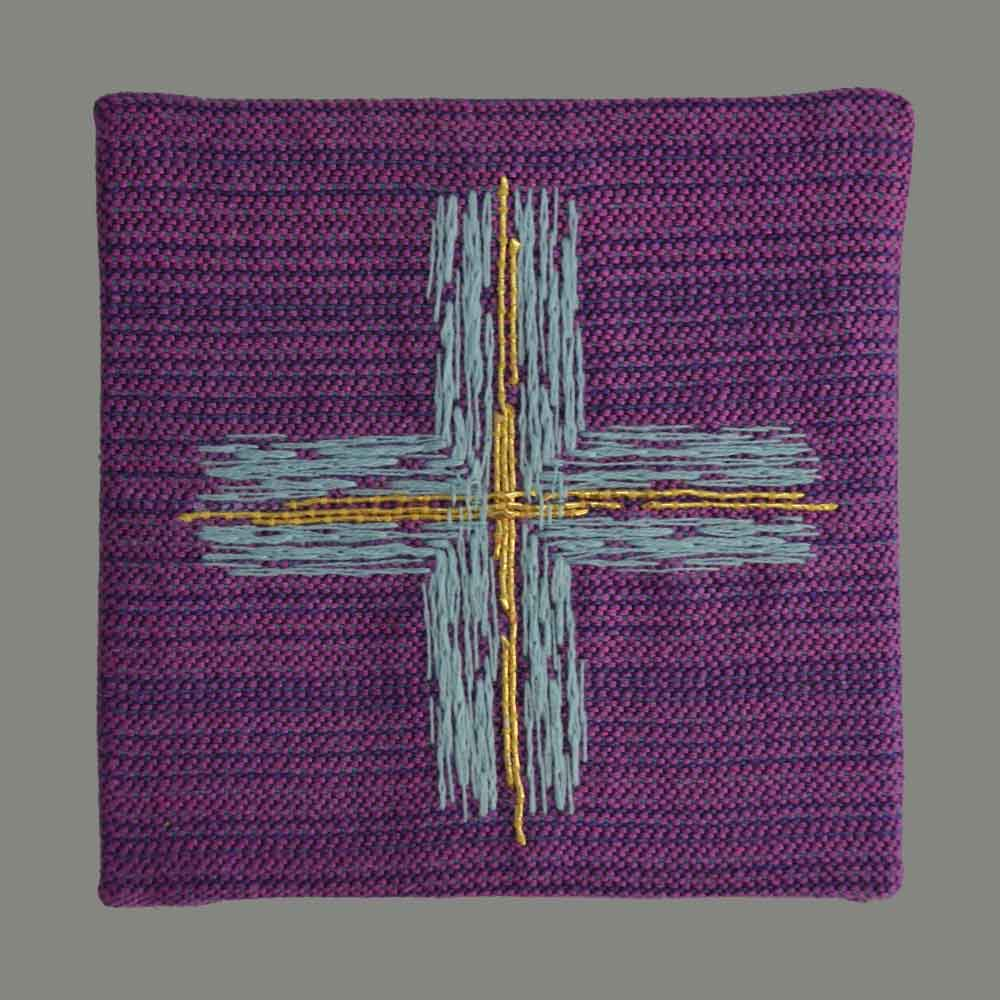Cross turquoise on violet hand embroidered