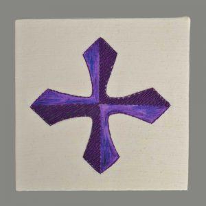 Kreuz Violett Handgestickt