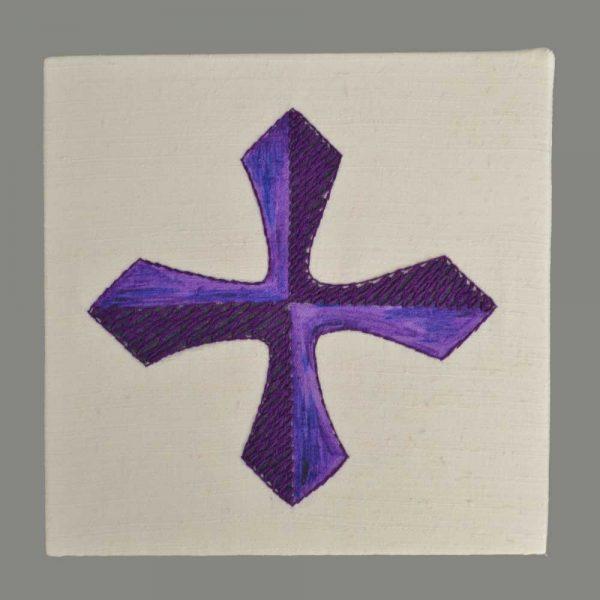 Gesticktes Kreuz Violett