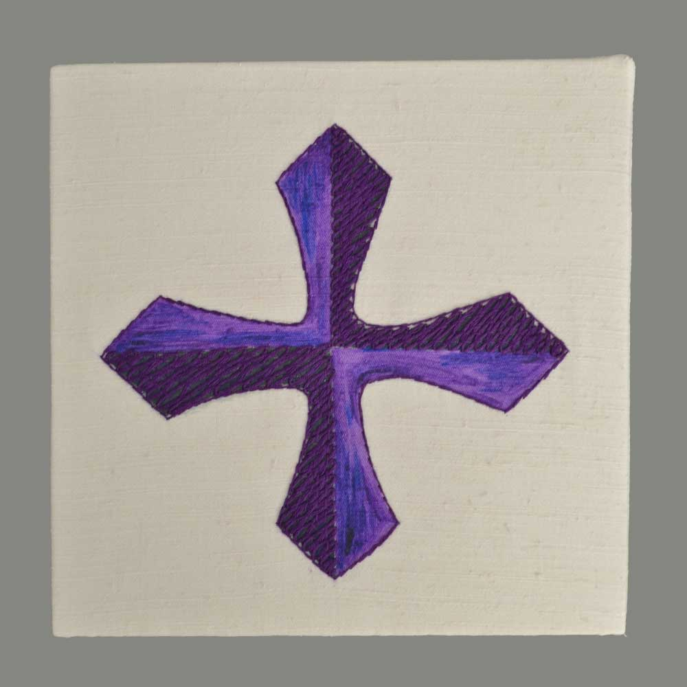 Cross purple hand embroidered