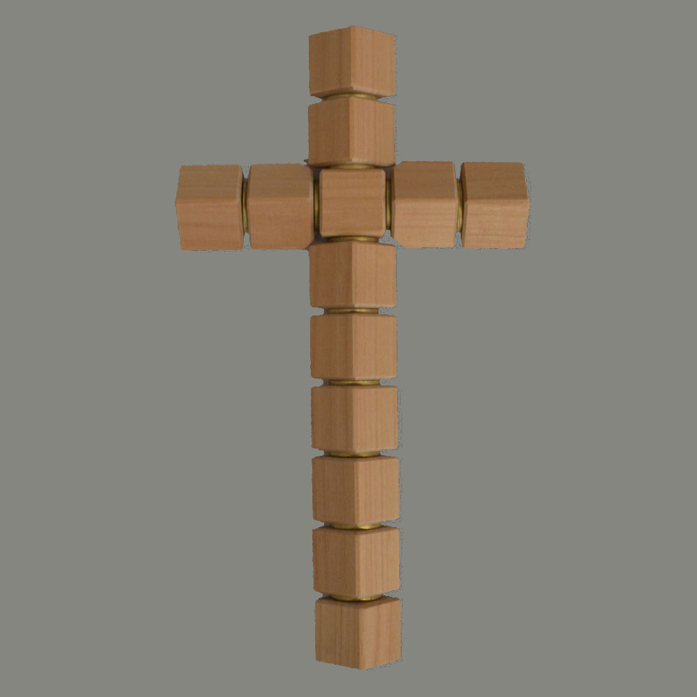 Wooden cross, cube, turned