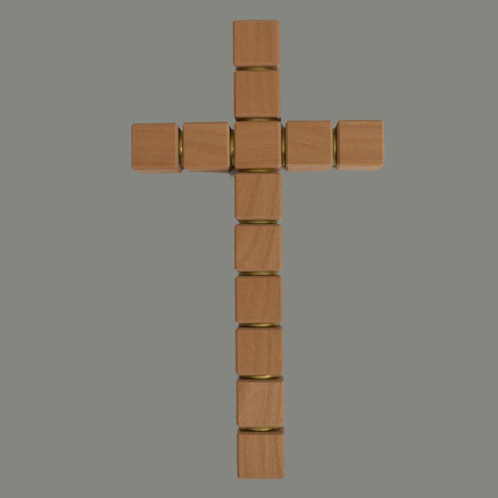 Cruz de madera, cubo, línea recta