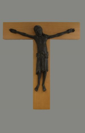 Holzkreuz Mit Bronzekörper