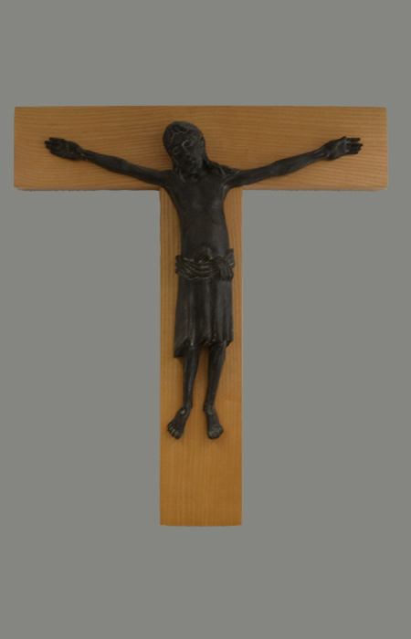 Wooden cross with bronze body