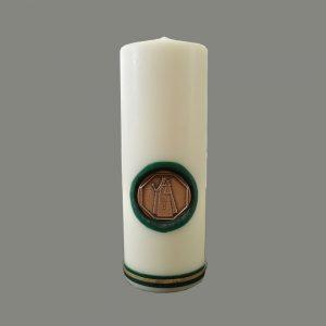 Kerze Mit Bronzeplakette