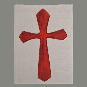 Kreuz Rot Handgestickt