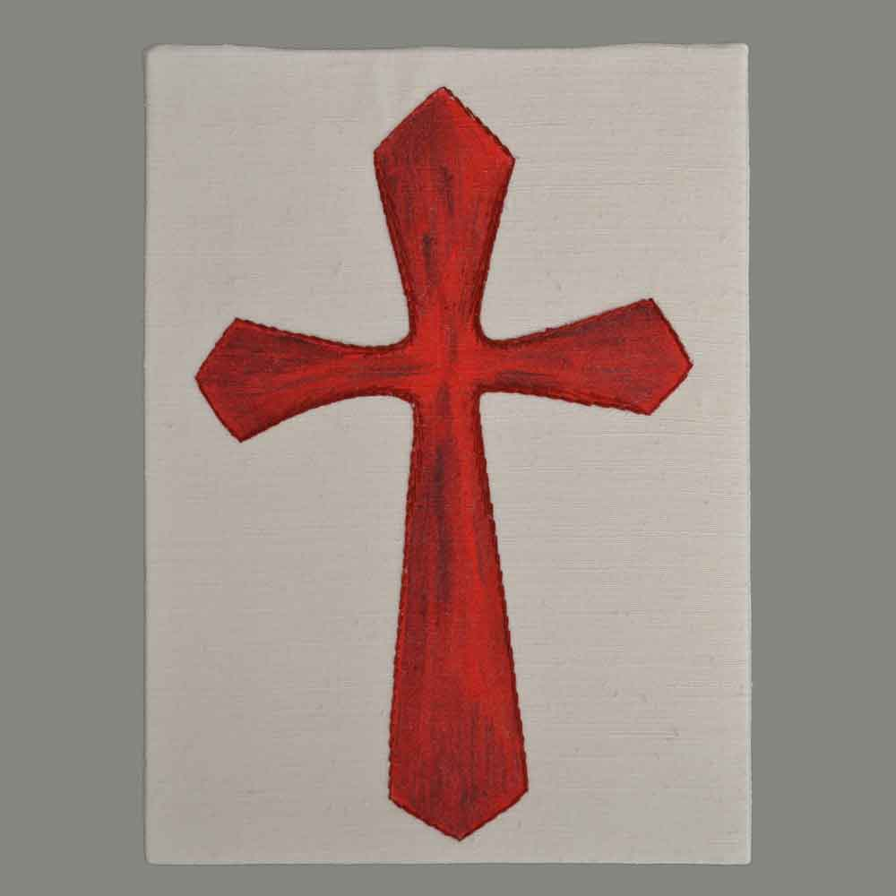 Cross red hand embroidered