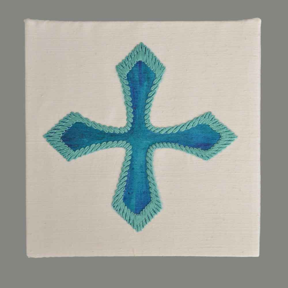 Cross turquoise hand embroidered